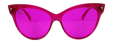 RainbowOPTX - Cat Eye Transparent Magenta Sunglasses / Magenta Lenses