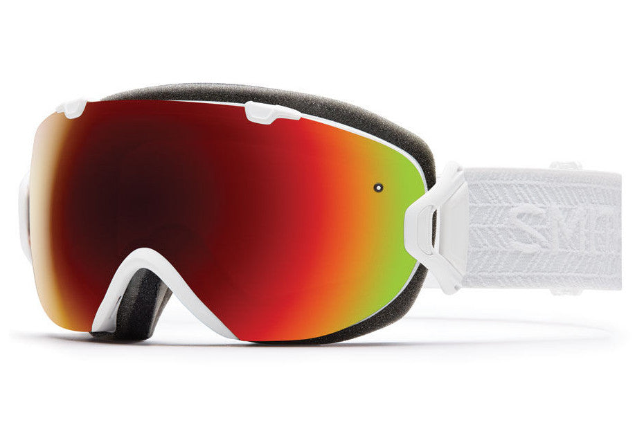 Smith I/OS White Eclipse Goggles, Red Sol-X Mirror Lenses
