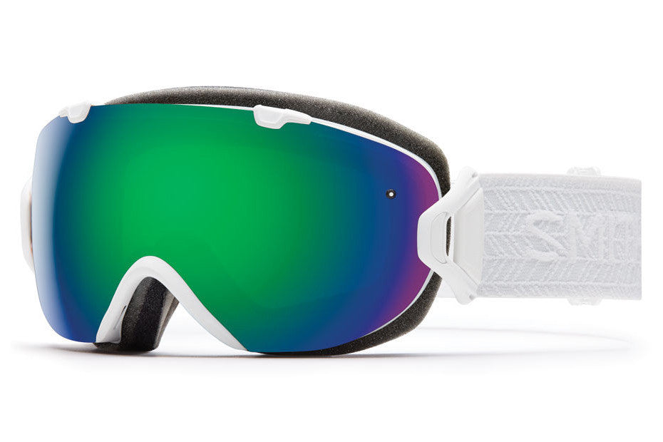 Smith - I/OS White Eclipse Goggles, Green Sol-X Mirror Lenses