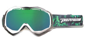 Peppers - Powder Hound White Snow Goggles / Persimmon Emerald Mirror Lenses