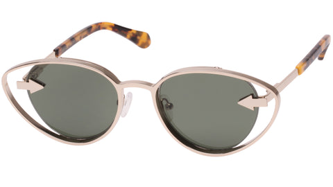 Karen Walker - Kissy Kissy  51mm Gold Tortoise Sunglasses / Green Lenses