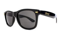 Knockaround - Fort Knocks Glossy Black Sunglasses, Polarized Smoke Lenses