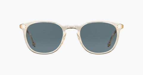 Garrett Leight - Kinney 49mm Champagne Sunglasses / Blue Smoke Polarized Lenses