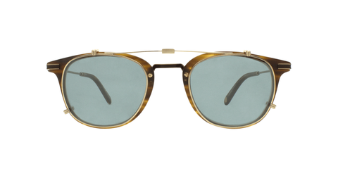 Garrett Leight - Kinney Combo 47mm Brushed Gold Clip-On Sunglasses / Soft Green Mirror Lenses