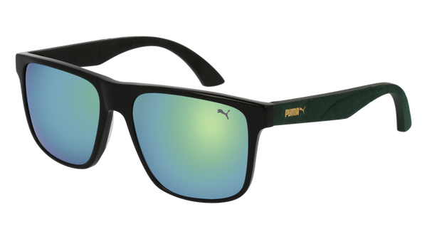 4d469f25a807 Puma - PU0104S Black Green Sunglasses   Green Lenses – New York Glass