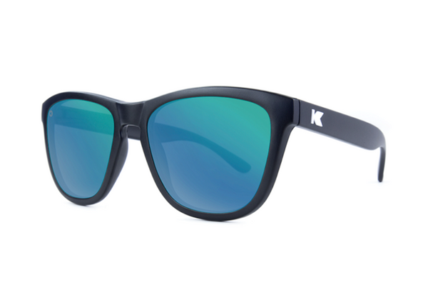Knockaround - Premiums Black Sunglasses, Polarized Green Moonshine Lenses