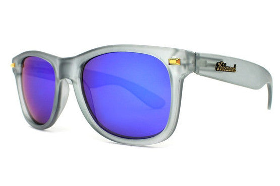 Knockaround - Fort Knocks Frosted Grey Sunglasses, Polarized Moonshine Lenses