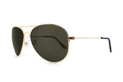 Knockaround - Mile Highs Gold Sunglasses, Aviator Green Polarized Lenses