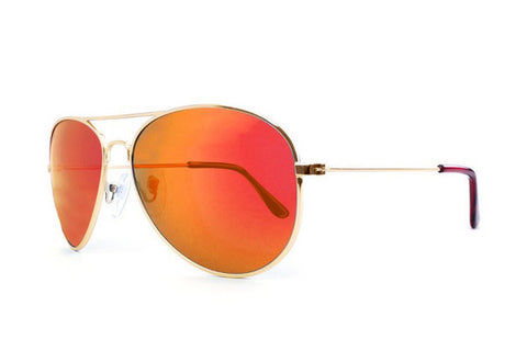Knockaround - Mile Highs Gold Sunglasses, Red Sunset Polarized Lenses