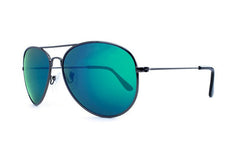 Knockaround - Mile Highs Gunmetal Sunglasses, Green Moonshine Polarized Lenses