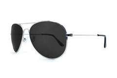 Knockaround - Mile Highs Silver Sunglasses, Smoke Polarized Lenses