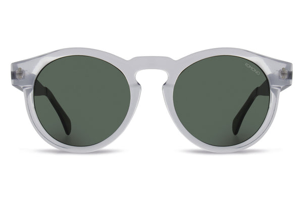 Komono - Clement Metal Series Clear Silver Sunglasses, Green Lenses