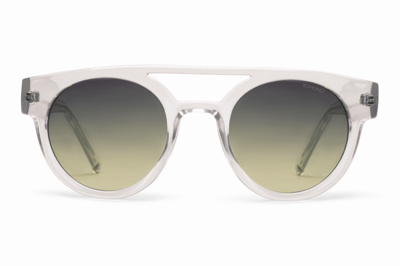 Komono - Dreyfuss Clear Sunglasses, Green Gradient Lenses