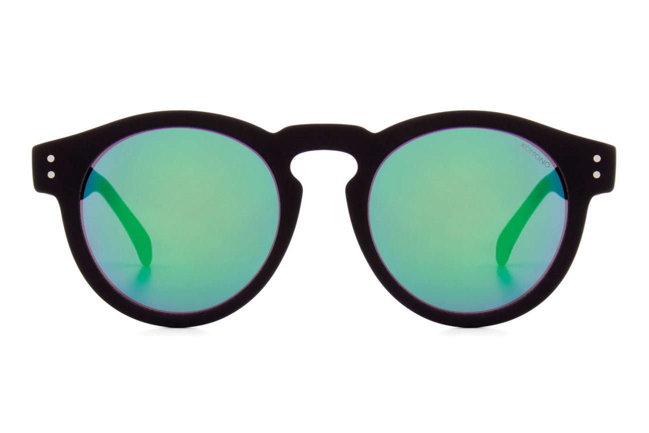 Komono - Mirror Series Clement Black Rubber Sunglasses, Blue-Green Lenses