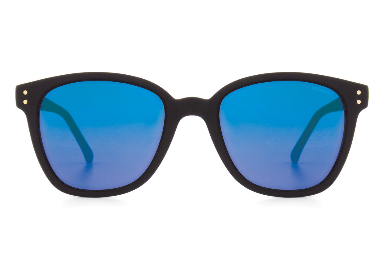 Komono - Mirror Series Renee Black Rubber Sunglasses, Blue Lenses