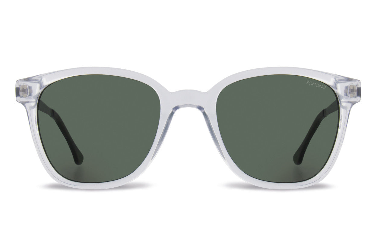 Komono - Renee Metal Series Clear Silver Sunglasses, Green Lenses