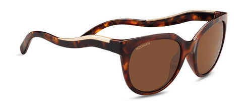 Serengeti - Lia Shiny Red Moss Tortoise Satin Champagne Gold Sunglasses / Polarized Lenses