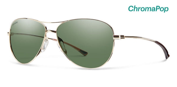 Smith Langley Gold Sunglasses, ChromaPop Polarized Gray Green Lenses