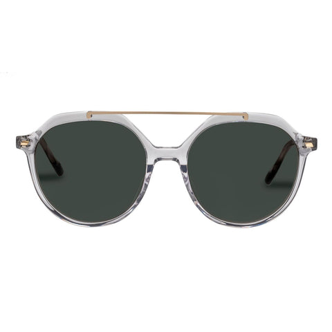 Le Specs - Paranormal Alt Fit Clear Gold Sunglasses / Khaki Mono Lenses