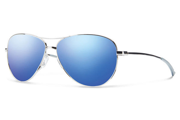 Smith - Langley Silver Sunglasses, Blue Flash Mirror Lenses