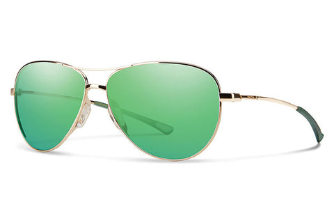 Smith - Langley Gold Sunglasses, Green Sol-X Mirror Lenses