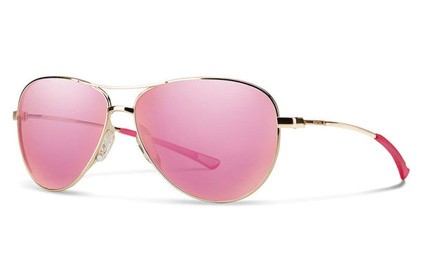 Smith - Langley Gold Sunglasses, Pink Mirror Lenses