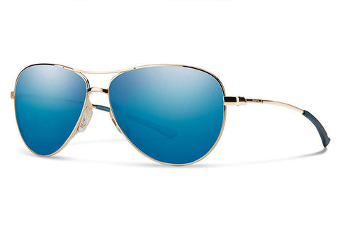 Smith - Langley Gold Sunglasses, Blue Sol-X Mirror Lenses
