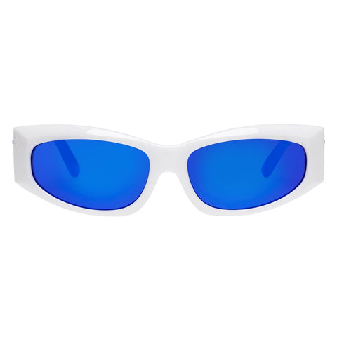 Le Specs - The Edge White Sunglasses / Cobalt Blue Mirror Lenses