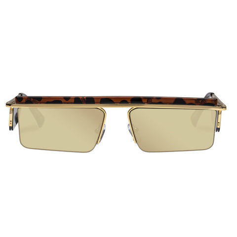 Le Specs - The Flex 55mm Gold Leopard Sunglasses / Gold Mirror Lenses