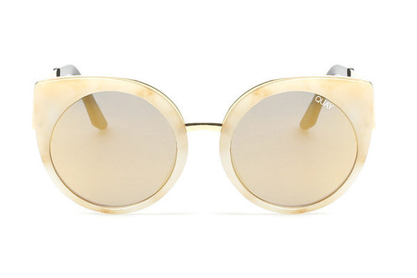 Quay Last Dance White Marble / Gold Sunglasses