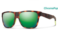 Smith - Lowdown Matte Tortoise Neon Sunglasses, ChromaPop Sun Green Mirror Lenses