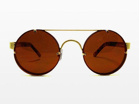 Spitfire - Lennon 2 Gold Metal Sunglasses, Brown Lenses