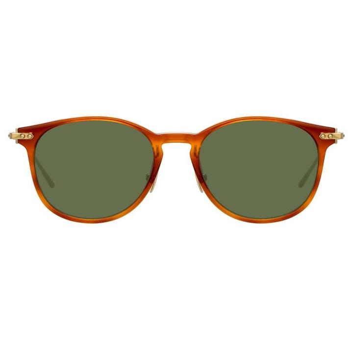 Linda Farrow Linear - Fuller 40mm Casetto Light Gold Sunglasses / Solid Green Lenses