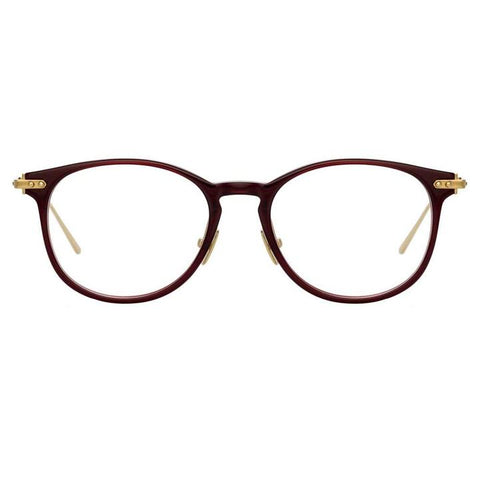 Linda Farrow Linear - Fuller 40mm Burgundy Light Gold Eyeglasses / Demo Lenses