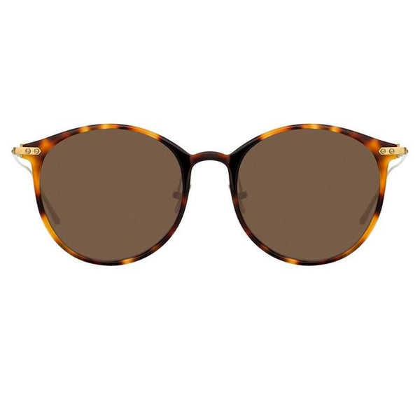 Linda Farrow Linear - Gray 51mm Light T-Shell Light Gold Sunglasses / Solid Brown Lenses