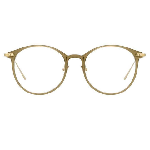 Linda Farrow Linear - Gray 51mm Khaki Luna Gold Eyeglasses / Demo Lenses