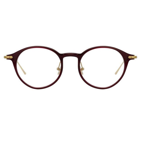 Linda Farrow Linear - Arris 49mm Burgundy Light Gold Eyeglasses / Demo Lenses