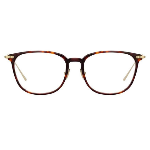 Linda Farrow Linear - Wright 53mm T-Shell Luna Gold Eyeglasses / Demo Lenses