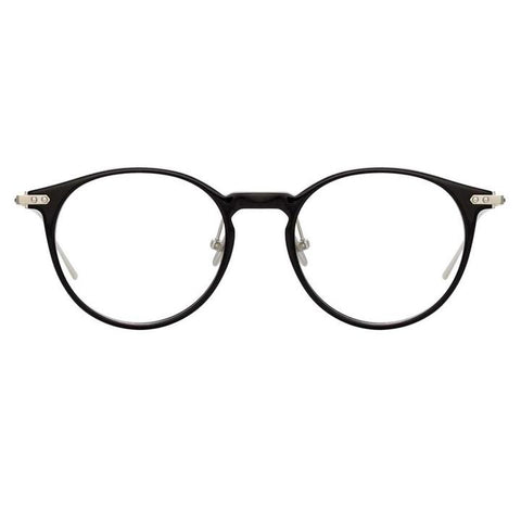 Linda Farrow Linear - Chevron 50mm Black White Gold Eyeglasses / Demo Lenses