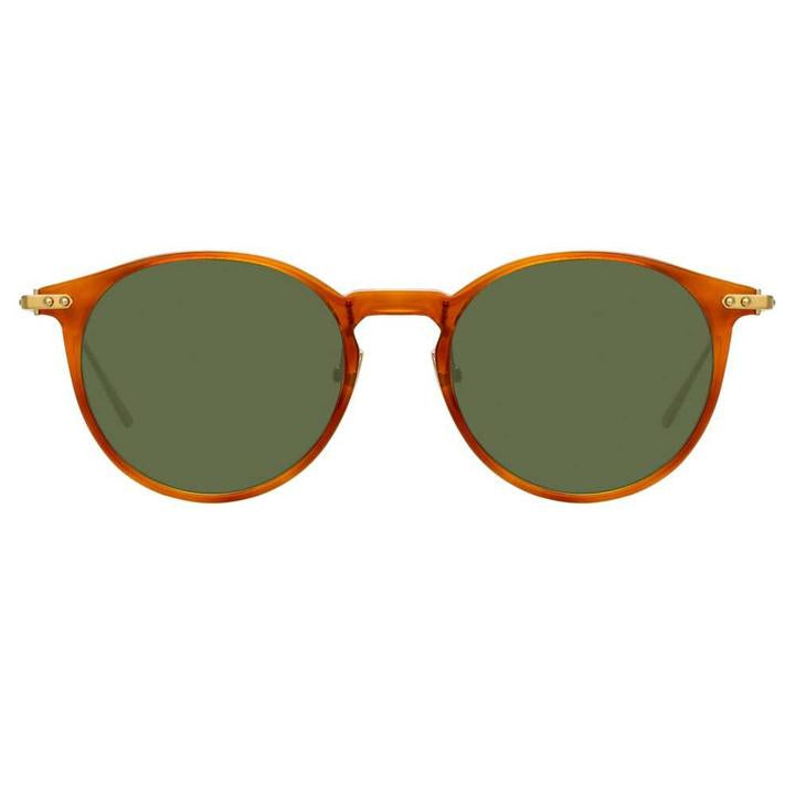Linda Farrow Linear - Chevron 50mm Casetto Light Gold Sunglasses / Solid Green Lenses
