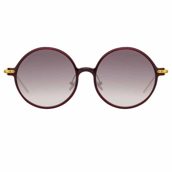 Linda Farrow Linear - Savoye 53mm Burgundy Light Gold Sunglasses / Grey Gradient Lenses