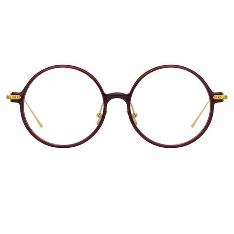 Linda Farrow Linear - Savoye 53mm Burgundy Light Gold Eyeglasses / Demo Lenses