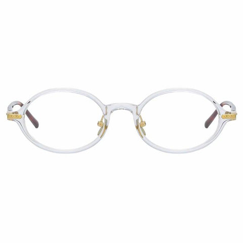 Linda Farrow Linear - Eaves 46mm Clear T-Shell Luna Gold Eyeglasses / Demo Lenses
