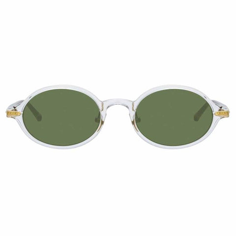Linda Farrow Linear - Eaves 46mm Clear T-Shell Luna Gold Sunglasses / Solid Green Lenses