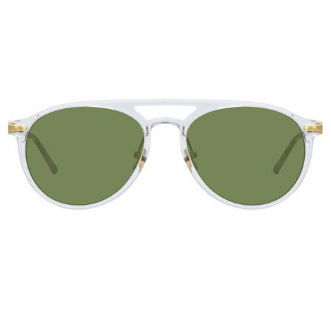 Linda Farrow Linear - Ando 55mm Clear T-Shell Luna Gold Sunglasses / Solid Green Lenses