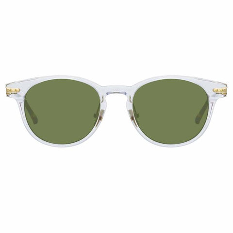 Linda Farrow Linear - Bay 48mm Clear T-Shell Luna Gold Sunglasses / Solid Green Lenses