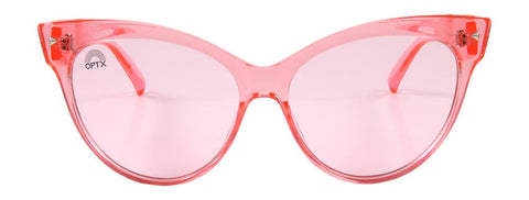 RainbowOPTX - Cat Eye Transparent Rose Sunglasses / Rose Lenses