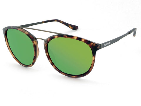 Peppers - Wicket Honey Tortoise Sunglasses / Green Mirror Polarized Lenses