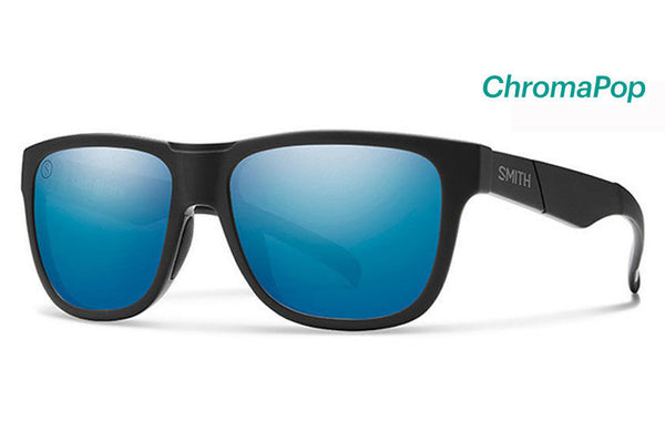 Smith - Lowdown Slim Matte Black - Salty Crew Sunglasses, ChromaPop Polarized Blue Mirror Lenses