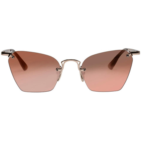 Le Specs - Pit Stop 53mm Rose Gold Sunglasses / Vintage Rose Gradient Mirror Lenses